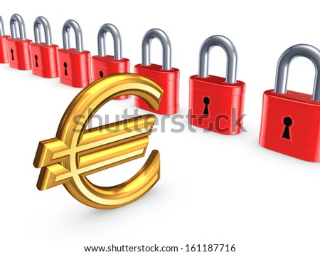 Colorful locks and sign of euro.Isolated on white.3d rendered. - stock photo