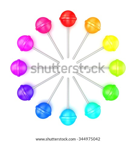 Colorful lollipops, circle arranged. Top view. 3D render illustration isolated on white background