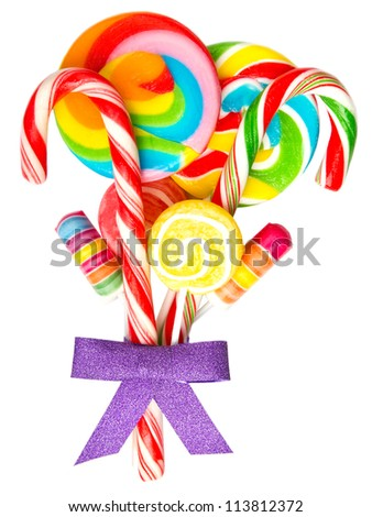 Colorful lollipops isolated on white background - stock photo