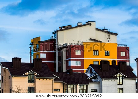 Colorful low-rise building - stock photo