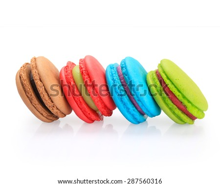 colorful macaroon  isolated on white background with clipping path.