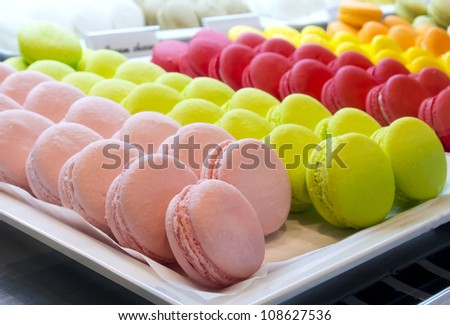 Colorful macaroons - stock photo