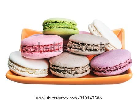 Colorful macaroons cake isolated on white background  - stock photo
