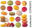 Colorful macaroons collection isolated on a white background - stock photo