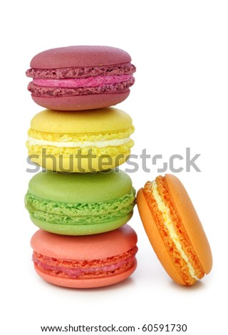 Colorful macaroons isolated on white background - stock photo