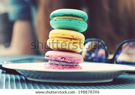 Colorful macaroons. Photo toned style Instagram filters - stock photo