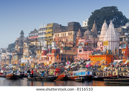 colorful main ghat in varanasi - stock photo