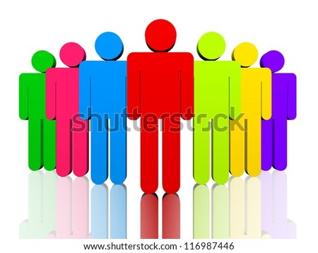 Colorful man figures depicting leadership and teamwork concept.