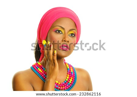 Colorful manicure and make up. Beauty woman portrait, Black African model with headscarf and accessories. Isolated, over white background, with copy space.   - stock photo