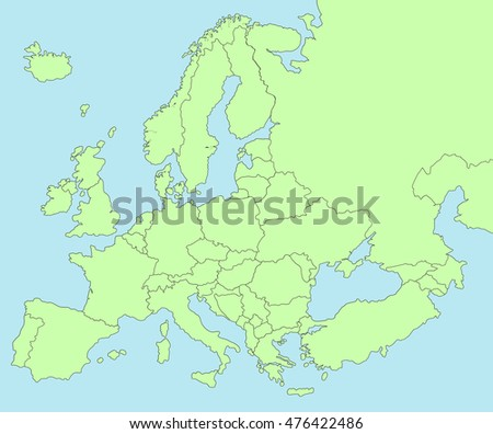 Colorful map of Europe on blue sea background.