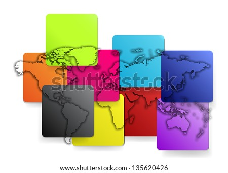 Colorful map of the world. Raster version. - stock photo
