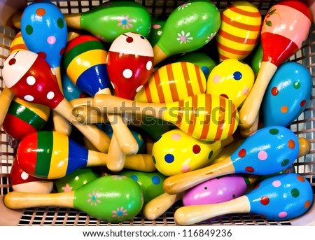 colorful maracas for sell - stock photo