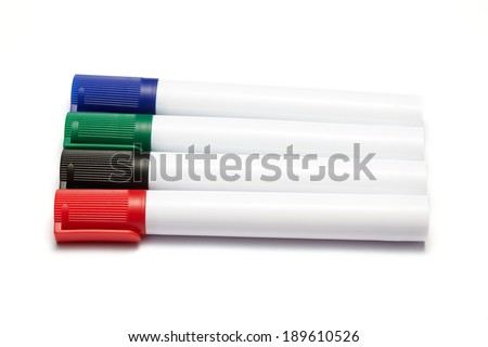 colorful marker pens isolated on white background - stock photo