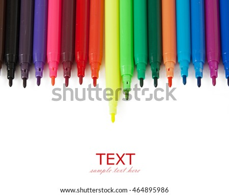 Colorful Marker Pens isolated on white background