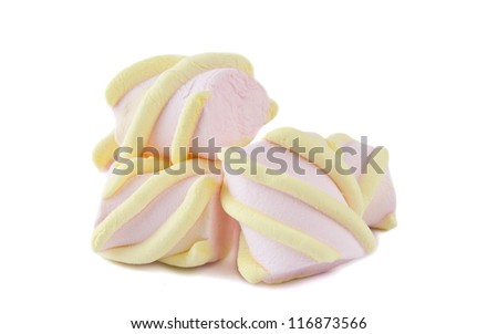 colorful marshmallows isolated on white background - stock photo
