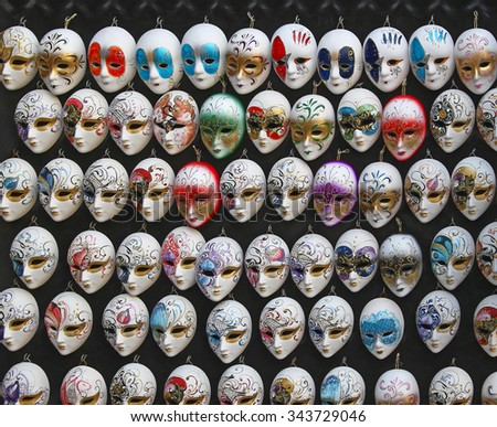 Colorful Masks Souvenirs of Festival in Venice Italy - stock photo