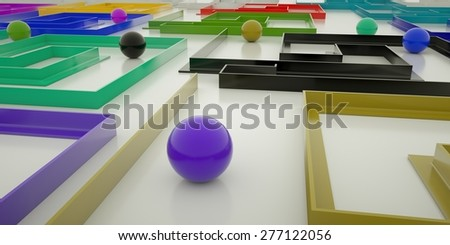 colorful maze with spheres on a white background, 3 d render