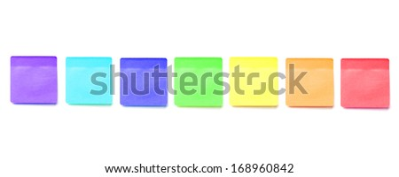 Colorful memo stick on white background - stock photo