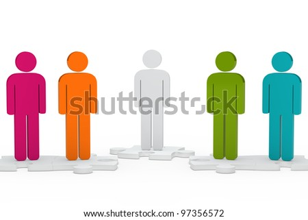 colorful men team figure stand on jisaw - stock photo