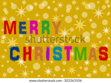 Colorful Merry Christmas lettering on gold with different stars and snowfall in a landscape format - stock photo