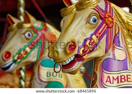 Colorful merry-go-round horse rides
