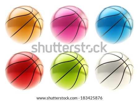 Colorful metal basketball ball 3d render isolated over white background, set of six different colors - stock photo