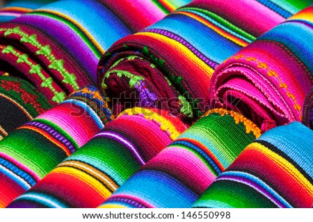 Colorful Mexican Blankets Sale Market Latin Stock Photo