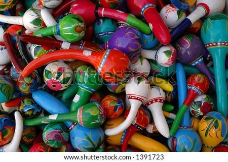 Colorful Mexican Maracas - stock photo