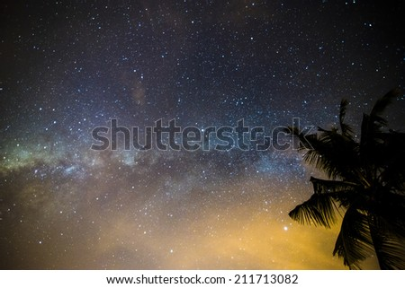 Colorful milky way. - stock photo