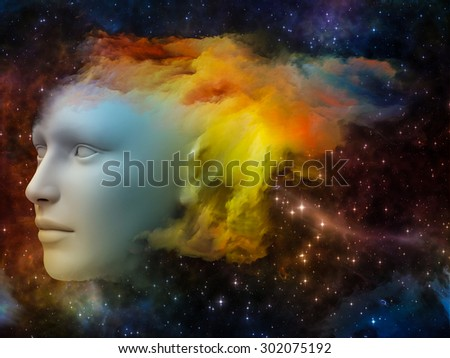 Colorful Mind series. Composition of human head and fractal colors on the subject of mind, dreams, thinking, consciousness and imagination - stock photo