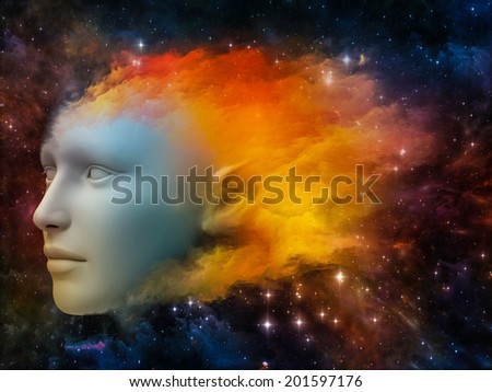 Colorful Mind series. Composition of human head and fractal colors suitable as a backdrop for the projects on mind, dreams, thinking, consciousness and imagination - stock photo