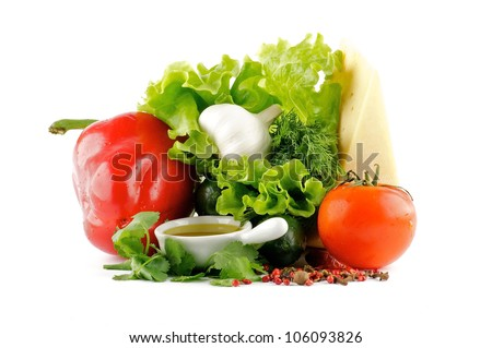 Colorful mix of vegetables, spices and cheese isolated on white background