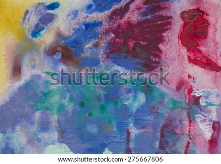 Colorful Mixed Ink Background Horizontal Bitmap Illustration - stock photo