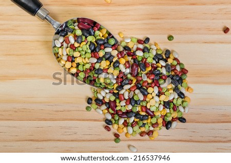 Colorful Mixture of Dried  Beans and Peas  for Soup - stock photo