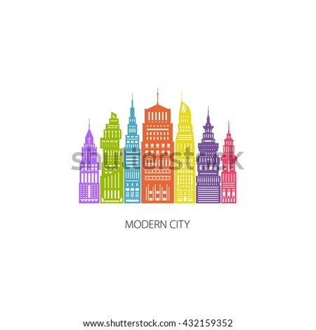 Colorful Modern Big City with Buildings and Skyscraper, Architecture Megapolis, City Financial Center , Flat Design, Architecture Concept, Logo Design Element,  Emblem for Real Estate - stock photo