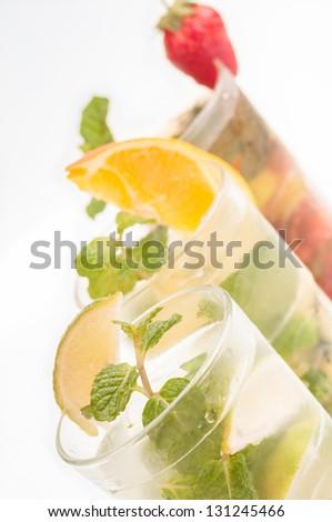 Colorful Mojito cocktails close up - stock photo