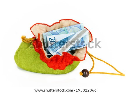 Colorful moneybag with twenty euro note, isolated on white - stock photo