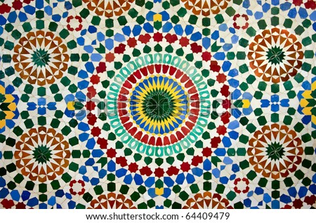colorful moroccan mosaic wall