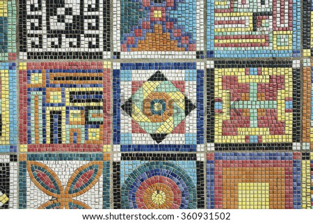 colorful mosaic flooring or wall - stock photo