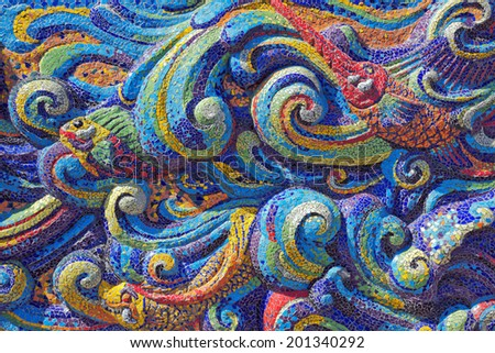 Colorful Mosaic on the wall. - stock photo