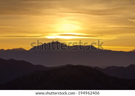 Colorful mountain sunset landscape scenic view - stock photo