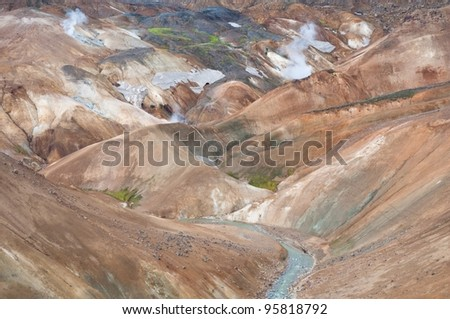 colorful mountains in Iceland, deserted with no vegetation at all - stock photo