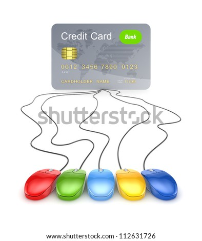 Colorful mouses attached to credit card.Isolated on white background.3d rendered. - stock photo