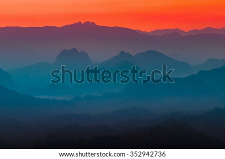 Colorful multi colors of silhouette mountain and sky