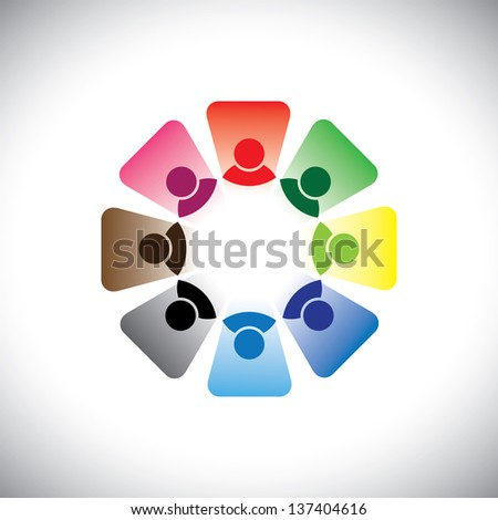 Colorful multi-ethnic corporate workers team- graphic. This illustration can also represent concept group of employees in team meeting or group discussion, etc - stock photo
