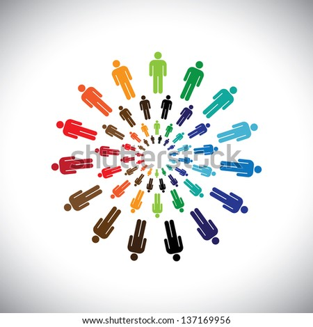 Colorful multi-ethnic people teams or communities meet as circles. This graphic can represent concept of teams interacting and collaborating with each other & also global social communities - stock photo