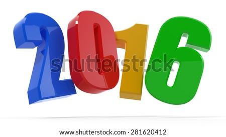 Colorful 2016... Multicolored 2016. 3d illustration 2016 - stock photo
