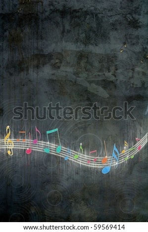 COLORFUL MUSIC NOTES ON GRUNGY BACKGROUND - stock photo