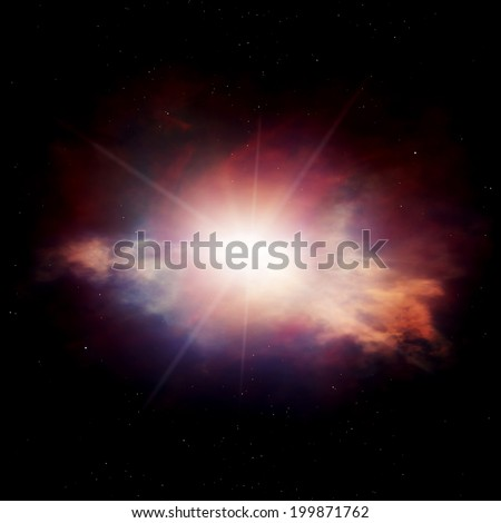 Colorful nebula with gas clouds and shining star. Space illustration - stock photo
