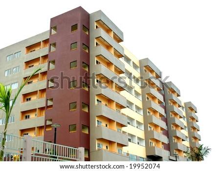 colorful new condominium - stock photo